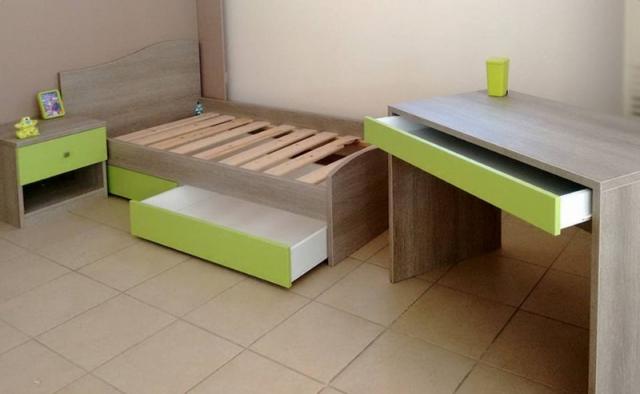 παιδικό γραφείο κρεβάτι κομοδίνο σετ πράσινο ανοιχτό