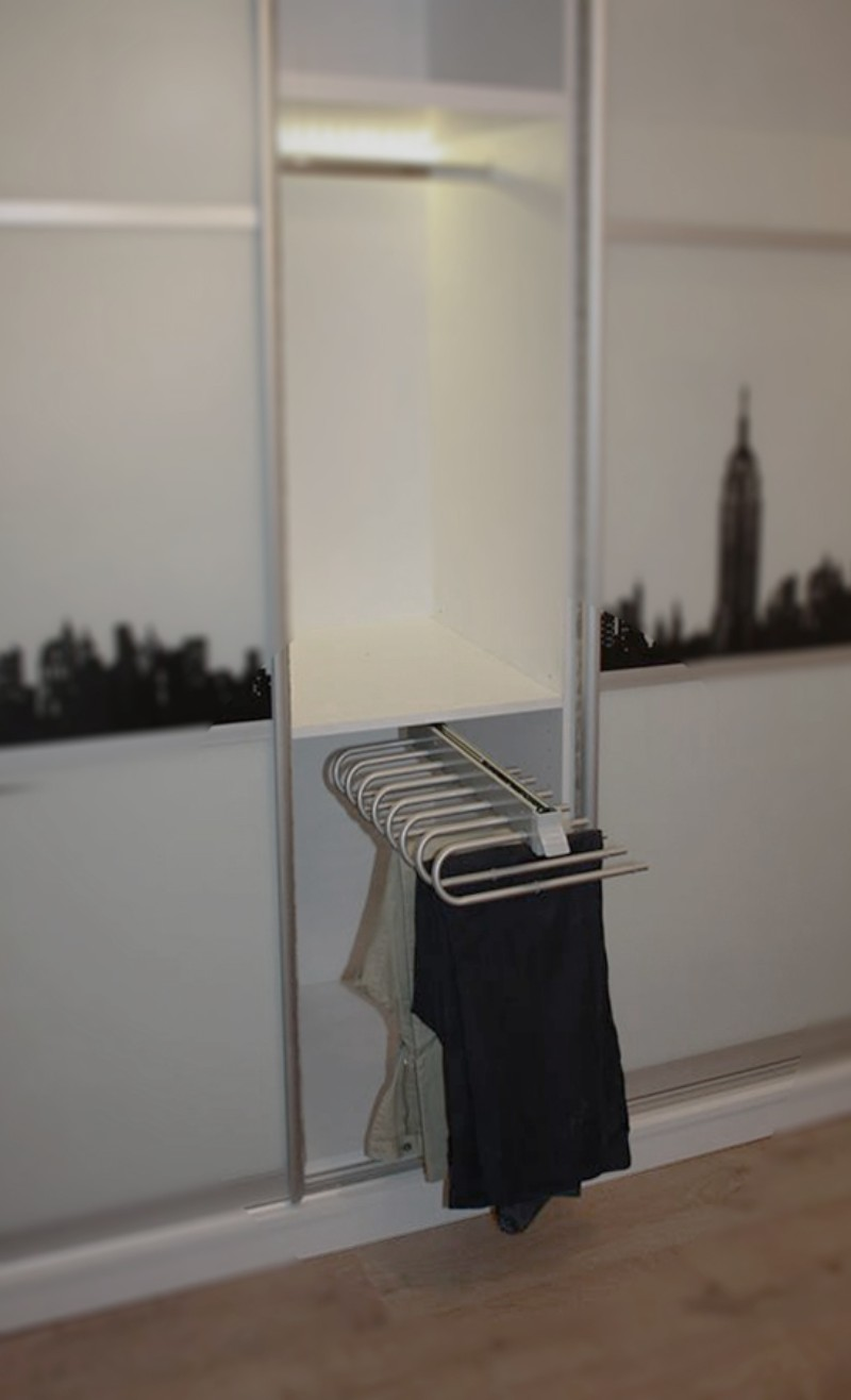 τρίφυλλη συρόμενη ντουλάπα μελαμίνησ λευκή με σχέδιο την πόλη σαν φρανσισκο
