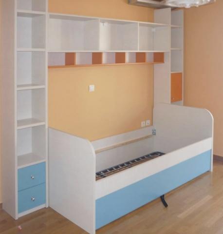 παιδικό κρεβάτι σέτ με βιβλιοθήκη