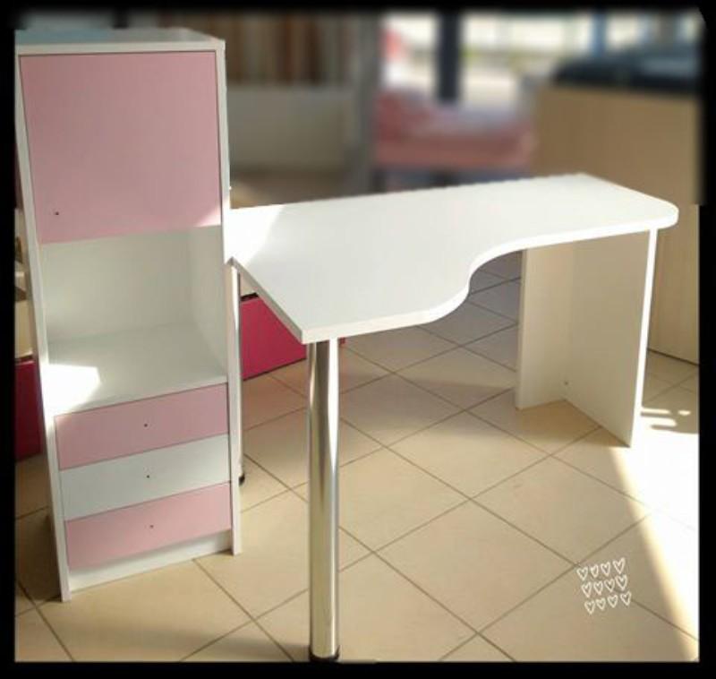 παιδικό γραφείο με ντουλάπα συρταριέρα ροζ λευκό