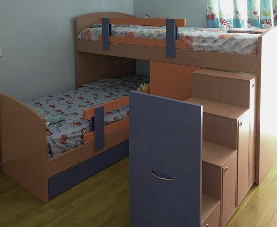 παιδικό κρεβάτι κουκέτα πορτοκαλί μπλέ