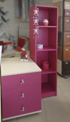 βιβλιοθήκη και συρταριέρα ρόζ σκούρο