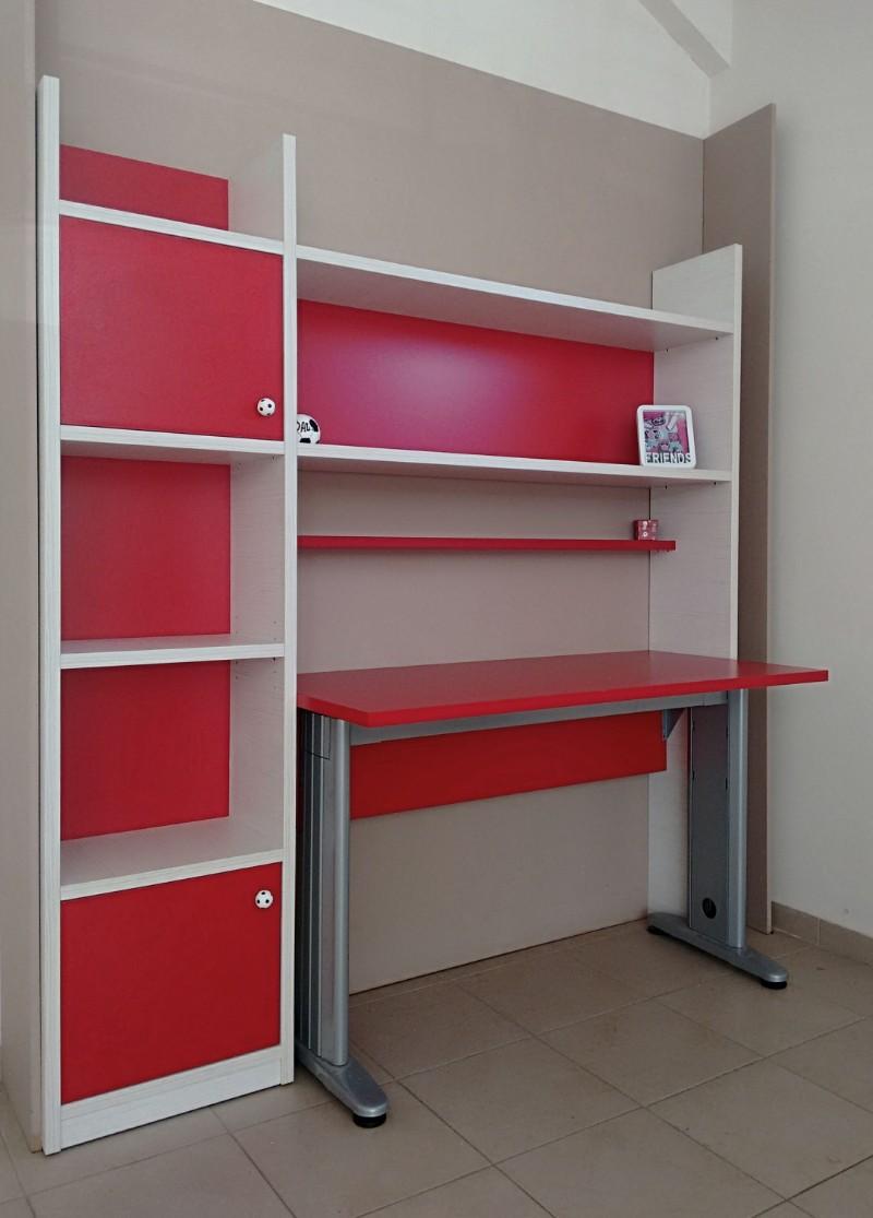 παιδικό σέτ γραφείο βιβλιοθήκη και ραφιέρα κόκκινο λευκό