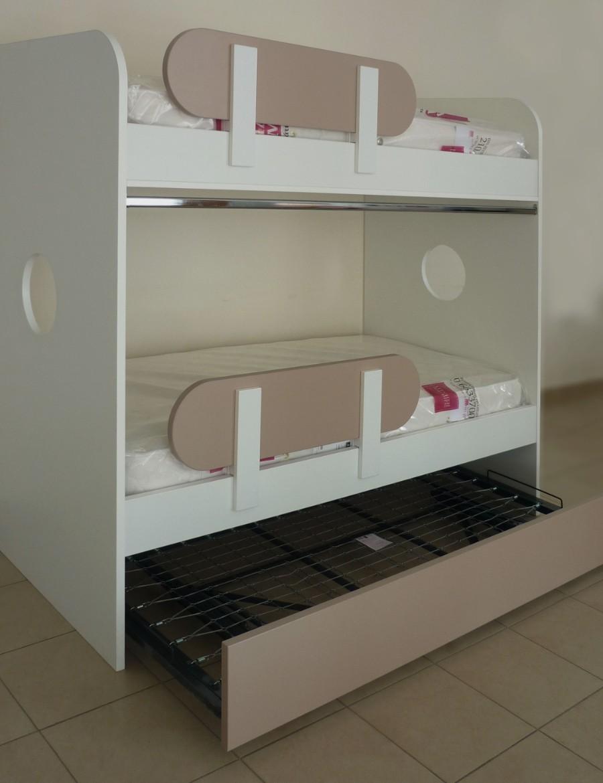 διώροφο κρεβάτι κουκέτα με έξτρα αποσυνδεόμενο κρεβάτι