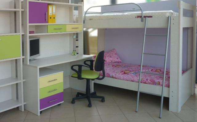 παδικό κρεβάτι κουκέτα σετ με γραφείο βιβλιοθήκη