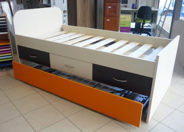 παιδικό κρεβάτι με έξτρα πτυσσόμενο κρέβατι και αποθηκευτικό χώρο
