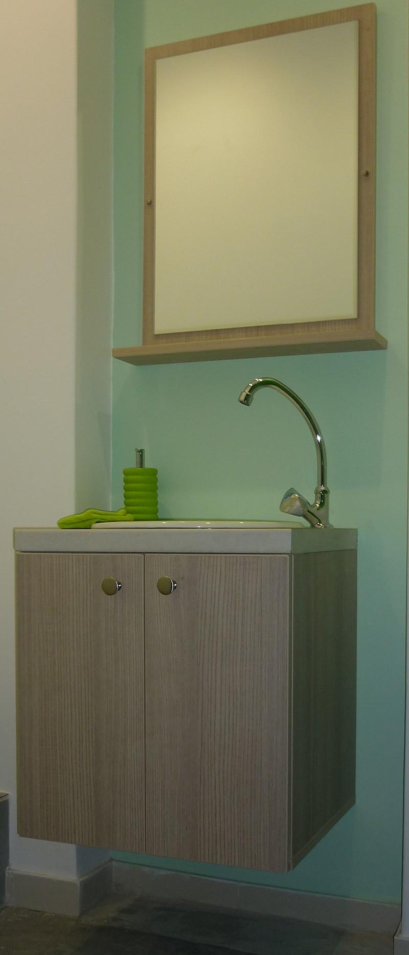 εντοιχιζόμενη βάση νιπτήρα διπλά ντουλάπια με ασορτί καθρέπτη