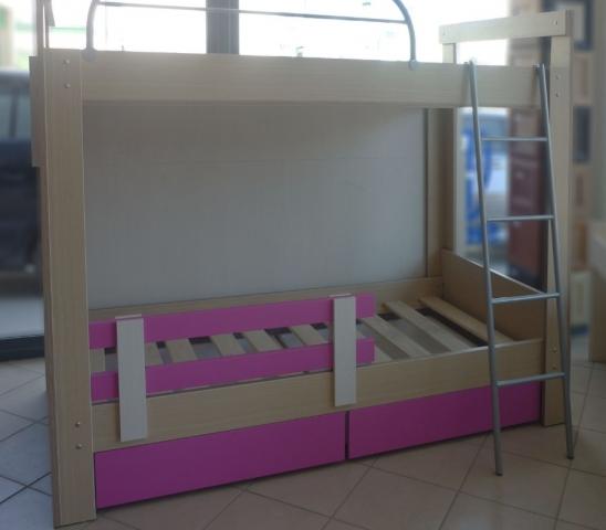 διώροφο κρεβάτι με αποθηκευτικό χώρο ρόζ συρτάρια