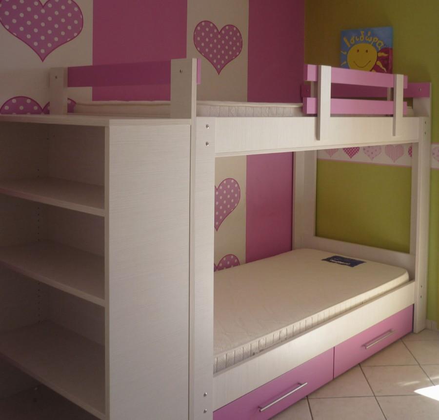 διώροφο κρεβάτι με αποθηκευτικό χώρο ρόζ συρτάρια και βιβλιοθήκη