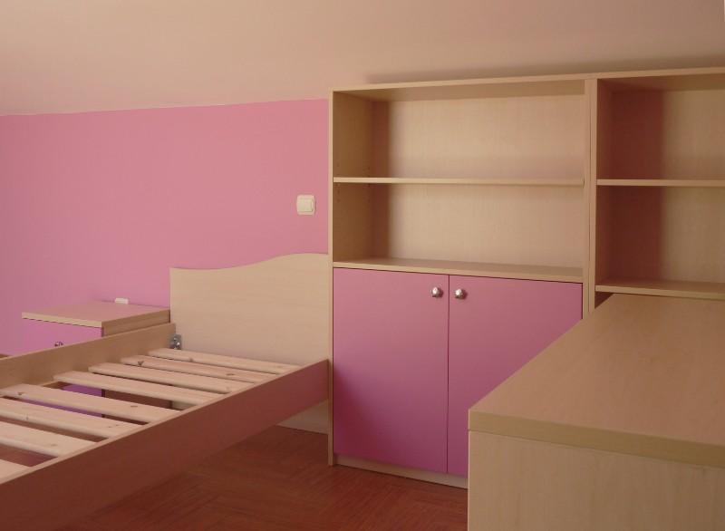 παιδικό κρεβάτι σέτ με ντουλάπα βιβλιοθήκη ρόζ