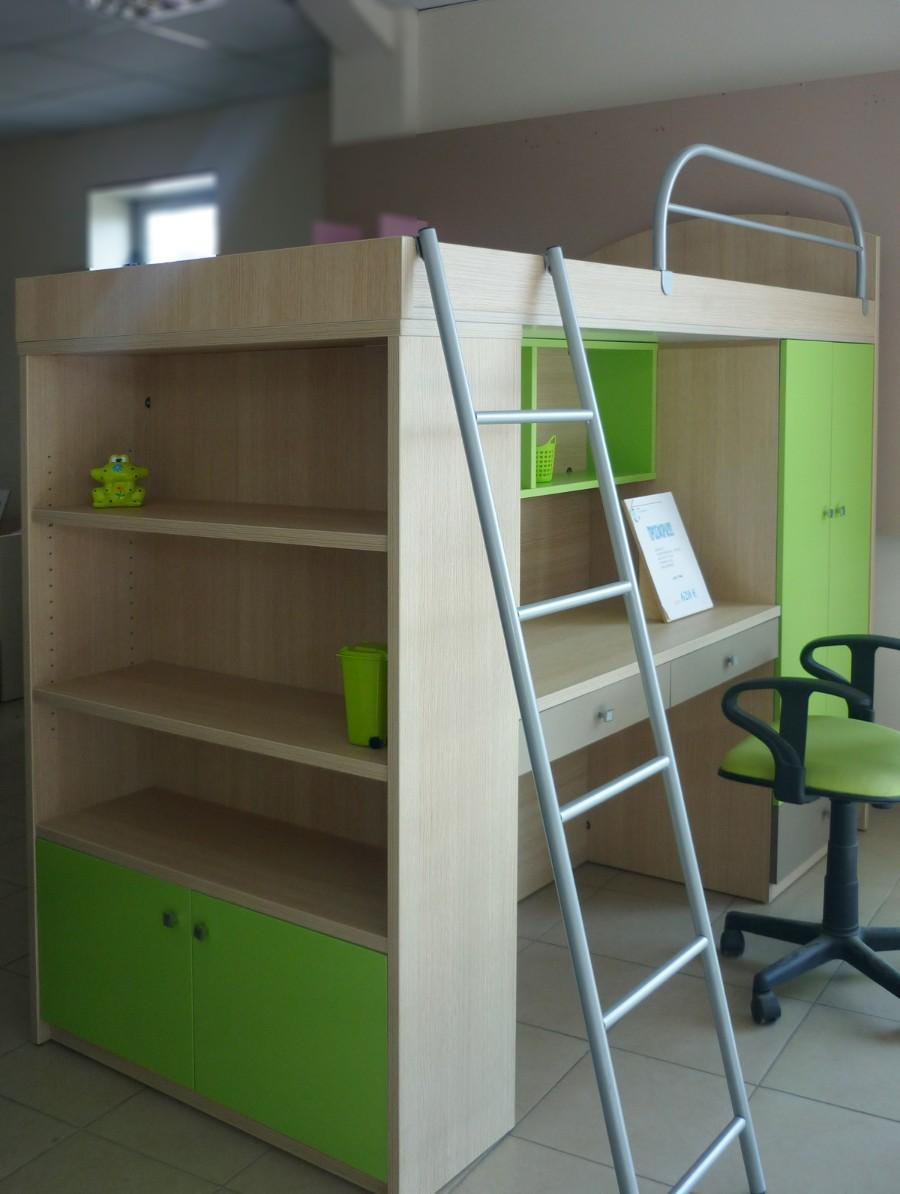 παιδικό κρεβάτι υπερυψωμένο με βιβλιοθήκη και γραφείο πράσινο
