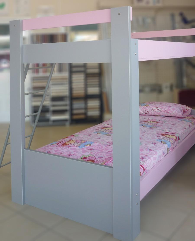 παιδικό κρεβάτι κουκέτα ρόζ γκρί