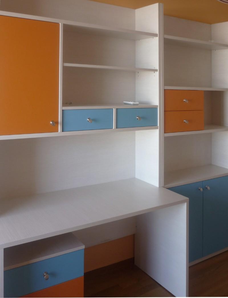 παιδικό γραφείο σέτ με ντουλάπα και βιβλιοθήκη πορτοκαλί γαλάζιο