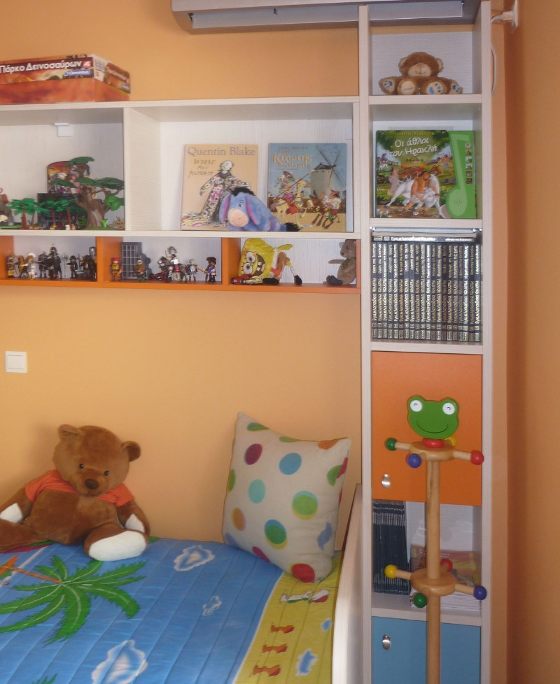 παιδική βιβλιοθήκη  εντοιχιζόμενη πορτοκαλί λευκό