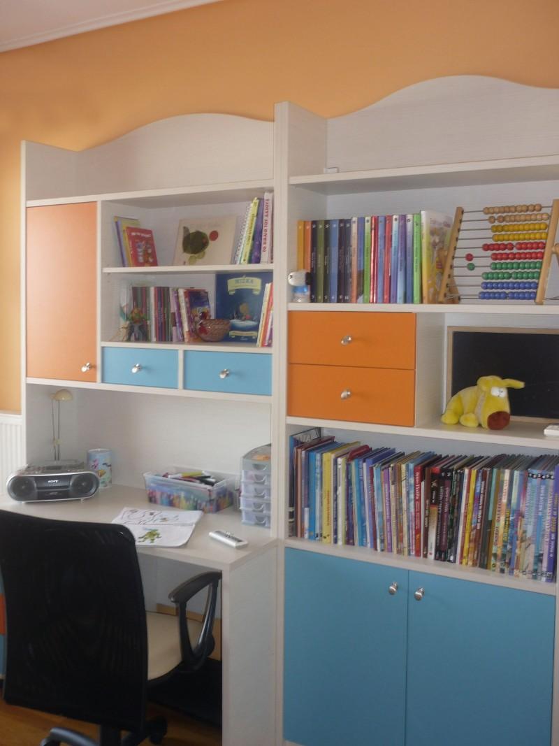 παιδική βιβλιοθήκη παιδικό γραφείο εντοιχιζόμενη πορτοκαλί λευκό γαλάζιο